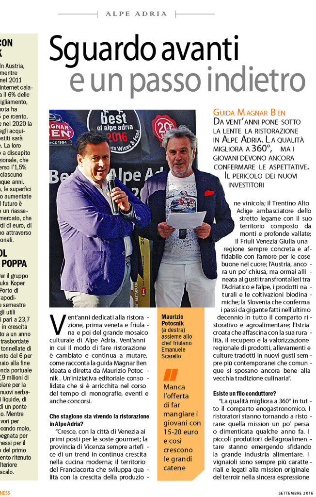 Il Friuli Business intervista a Maurizio Potocnik critico enogastronomico macroregione Alpe Adria