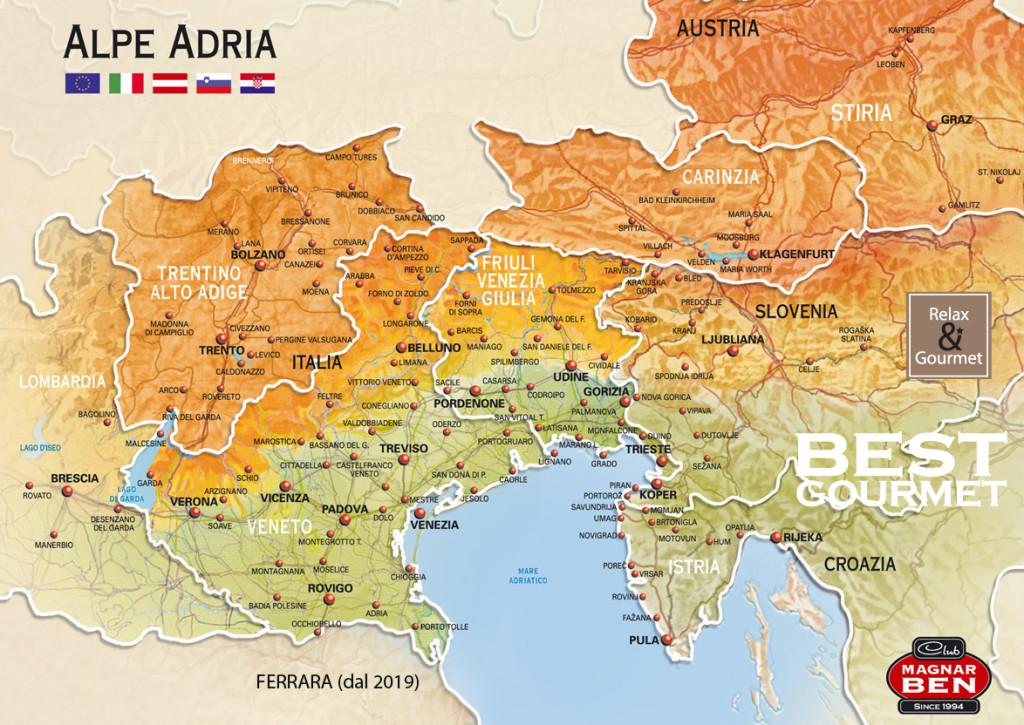 La Macroregione dell'Alpe Adria: Italia, Austria, Slovenia, Croazia.